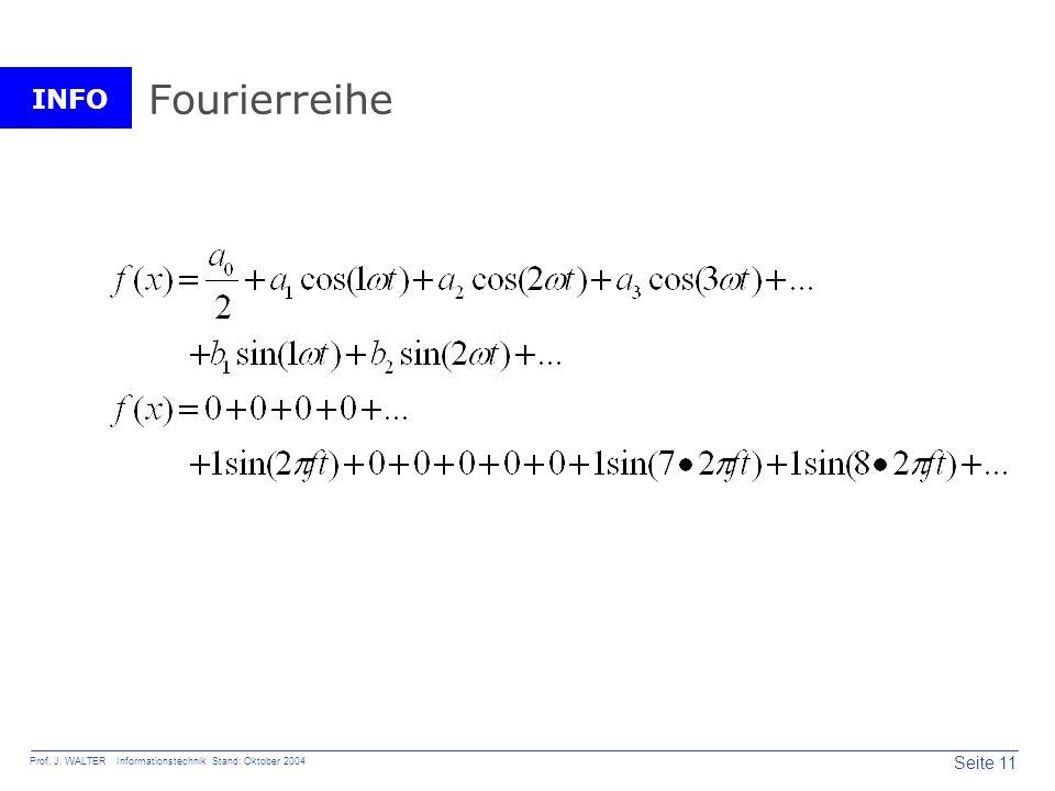 INFO Seite 11 Prof. J. WALTER Informationstechnik Stand: Oktober 2004 Fourierreihe