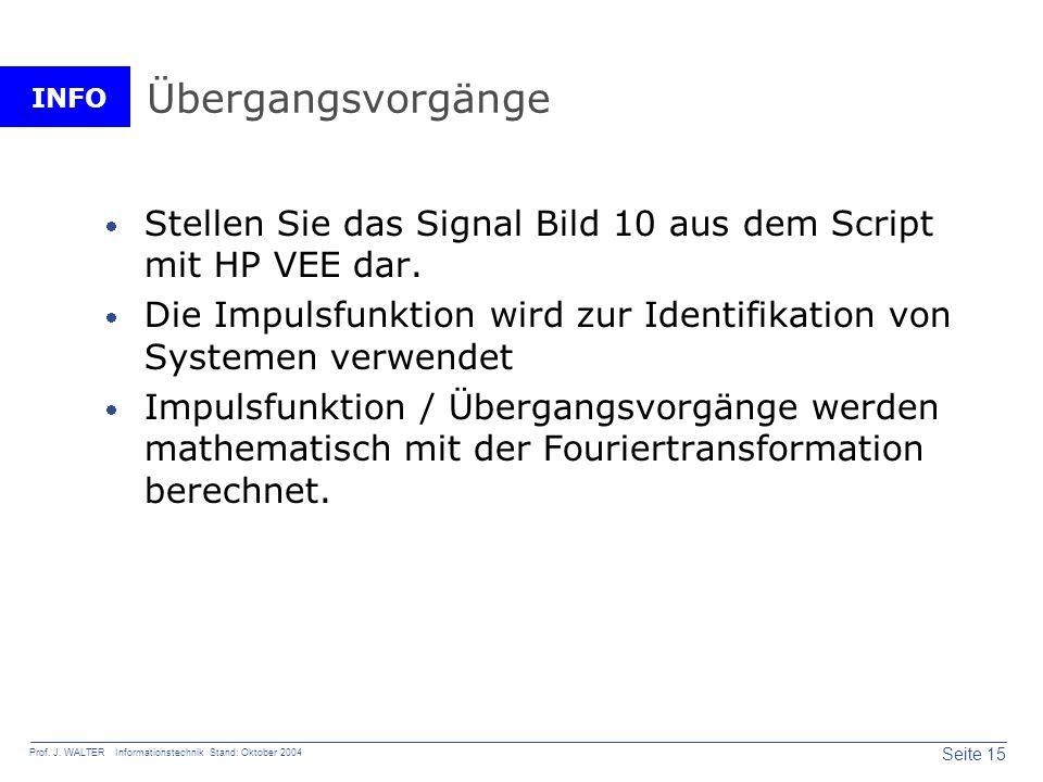INFO Seite 15 Prof. J. WALTER Informationstechnik Stand: Oktober 2004 Übergangsvorgänge Stellen Sie das Signal Bild 10 aus dem Script mit HP VEE dar.