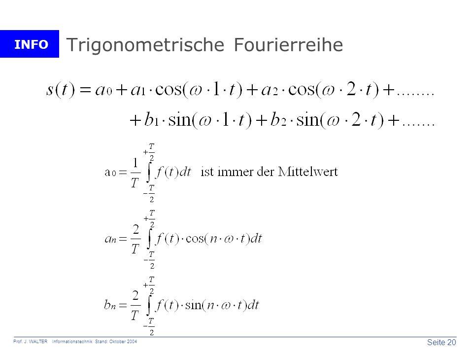 INFO Seite 20 Prof. J. WALTER Informationstechnik Stand: Oktober 2004 Trigonometrische Fourierreihe