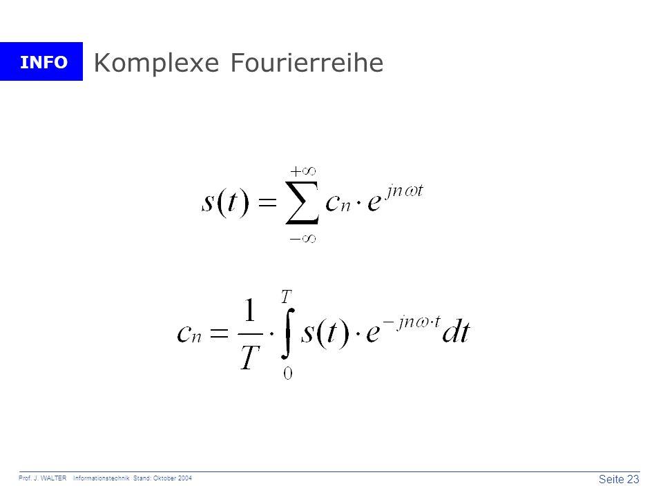 INFO Seite 23 Prof. J. WALTER Informationstechnik Stand: Oktober 2004 Komplexe Fourierreihe