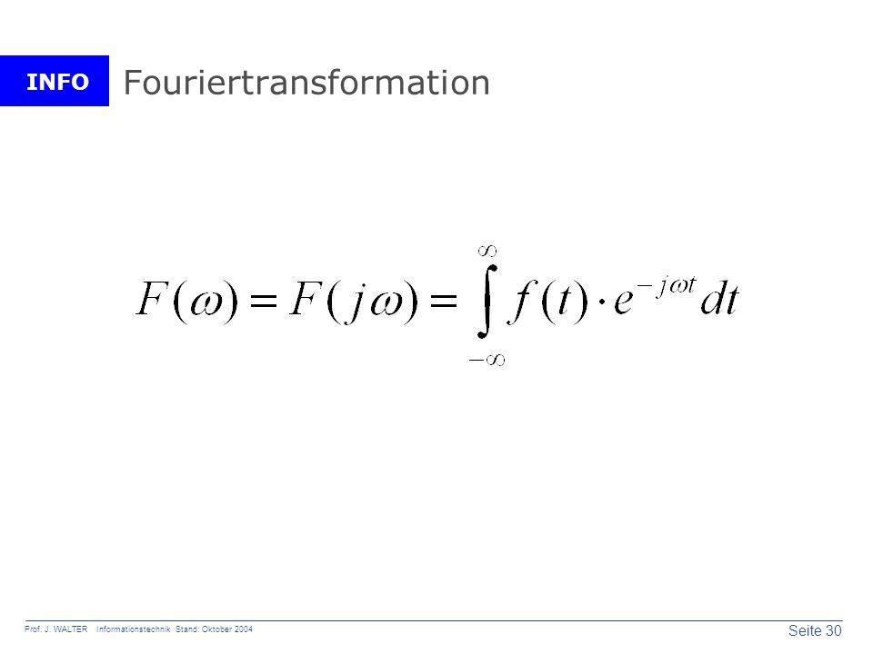 INFO Seite 30 Prof. J. WALTER Informationstechnik Stand: Oktober 2004 Fouriertransformation