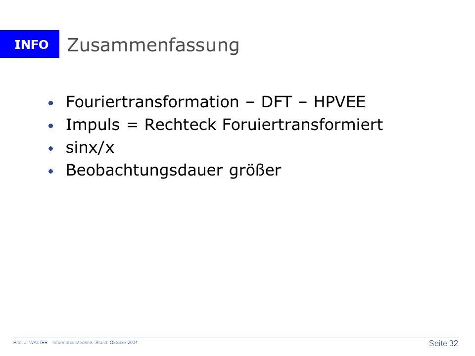 INFO Seite 32 Prof. J. WALTER Informationstechnik Stand: Oktober 2004 Zusammenfassung Fouriertransformation – DFT – HPVEE Impuls = Rechteck Foruiertra