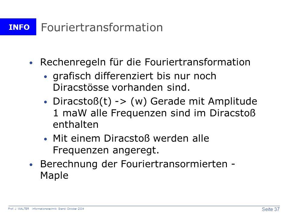 INFO Seite 37 Prof. J. WALTER Informationstechnik Stand: Oktober 2004 Fouriertransformation Rechenregeln für die Fouriertransformation grafisch differ