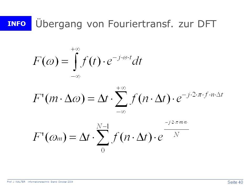 INFO Seite 40 Prof. J. WALTER Informationstechnik Stand: Oktober 2004 Übergang von Fouriertransf. zur DFT