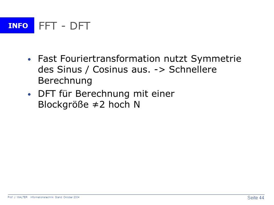 INFO Seite 44 Prof. J. WALTER Informationstechnik Stand: Oktober 2004 FFT - DFT Fast Fouriertransformation nutzt Symmetrie des Sinus / Cosinus aus. ->