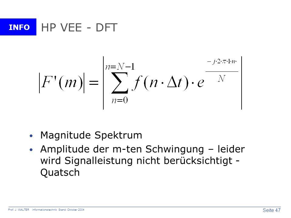 INFO Seite 47 Prof. J. WALTER Informationstechnik Stand: Oktober 2004 HP VEE - DFT Magnitude Spektrum Amplitude der m-ten Schwingung – leider wird Sig