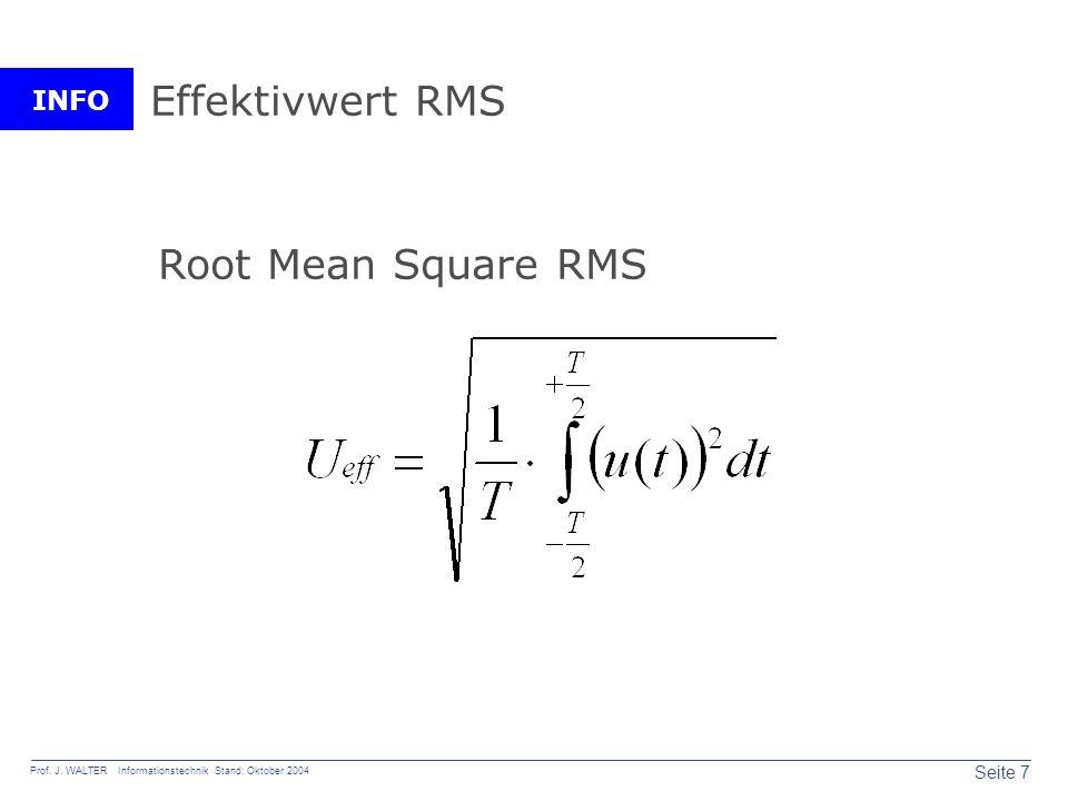 INFO Seite 7 Prof. J. WALTER Informationstechnik Stand: Oktober 2004 Effektivwert RMS Root Mean Square RMS