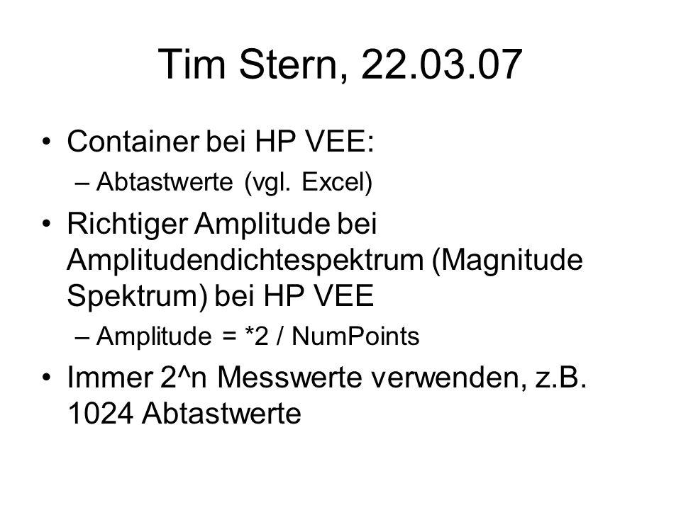 Tim Stern, 22.03.07 Container bei HP VEE: –Abtastwerte (vgl. Excel) Richtiger Amplitude bei Amplitudendichtespektrum (Magnitude Spektrum) bei HP VEE –