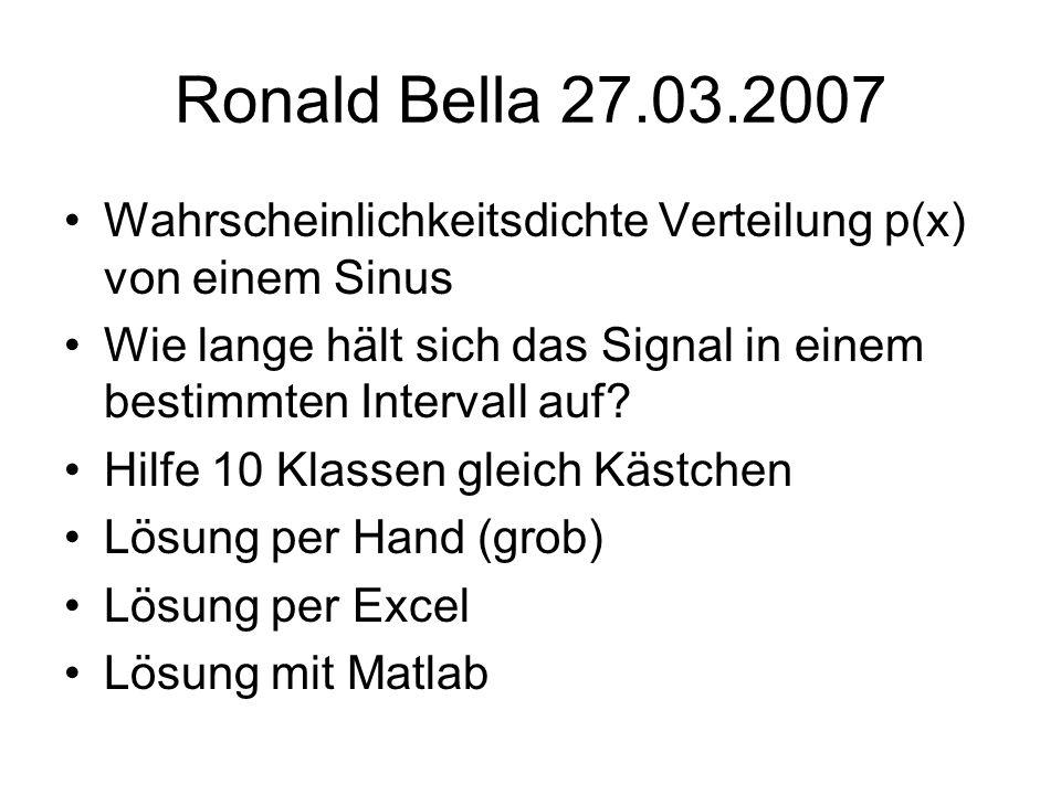 Ronald Bella 27.03.2007 Wahrscheinlichkeitsdichte Verteilung p(x) von einem Sinus Wie lange hält sich das Signal in einem bestimmten Intervall auf? Hi