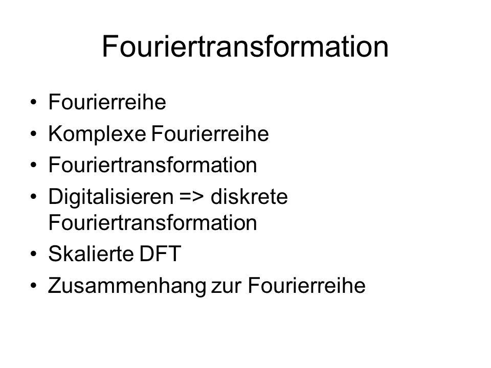 Fouriertransformation Fourierreihe Komplexe Fourierreihe Fouriertransformation Digitalisieren => diskrete Fouriertransformation Skalierte DFT Zusammen