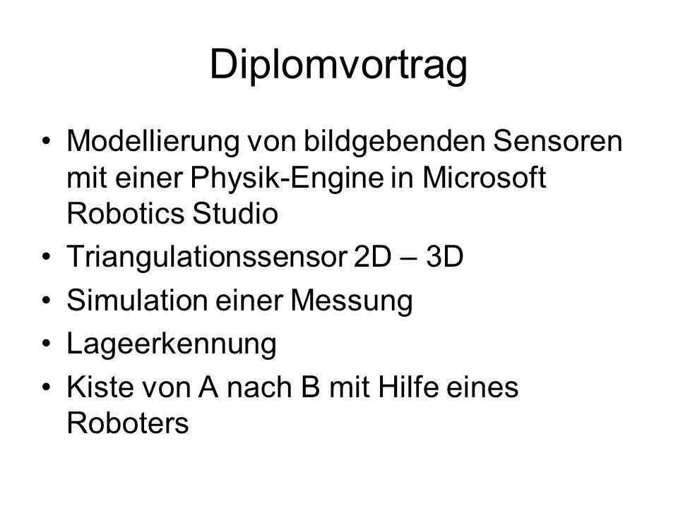 Diplomvortrag Modellierung von bildgebenden Sensoren mit einer Physik-Engine in Microsoft Robotics Studio Triangulationssensor 2D – 3D Simulation eine