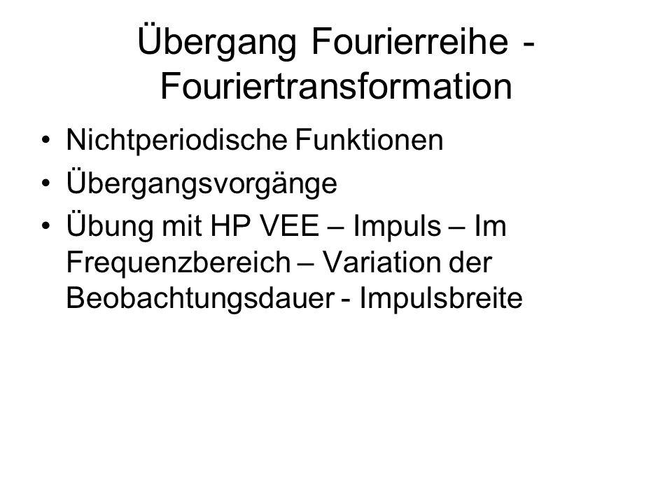 Übergang Fourierreihe - Fouriertransformation Nichtperiodische Funktionen Übergangsvorgänge Übung mit HP VEE – Impuls – Im Frequenzbereich – Variation