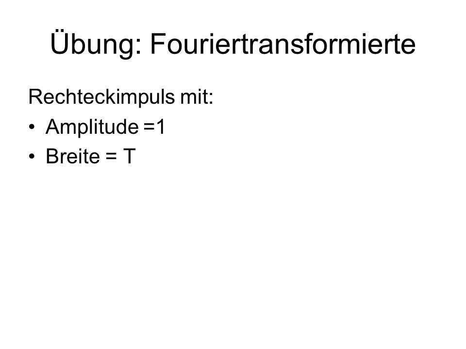 Übung: Fouriertransformierte Rechteckimpuls mit: Amplitude =1 Breite = T