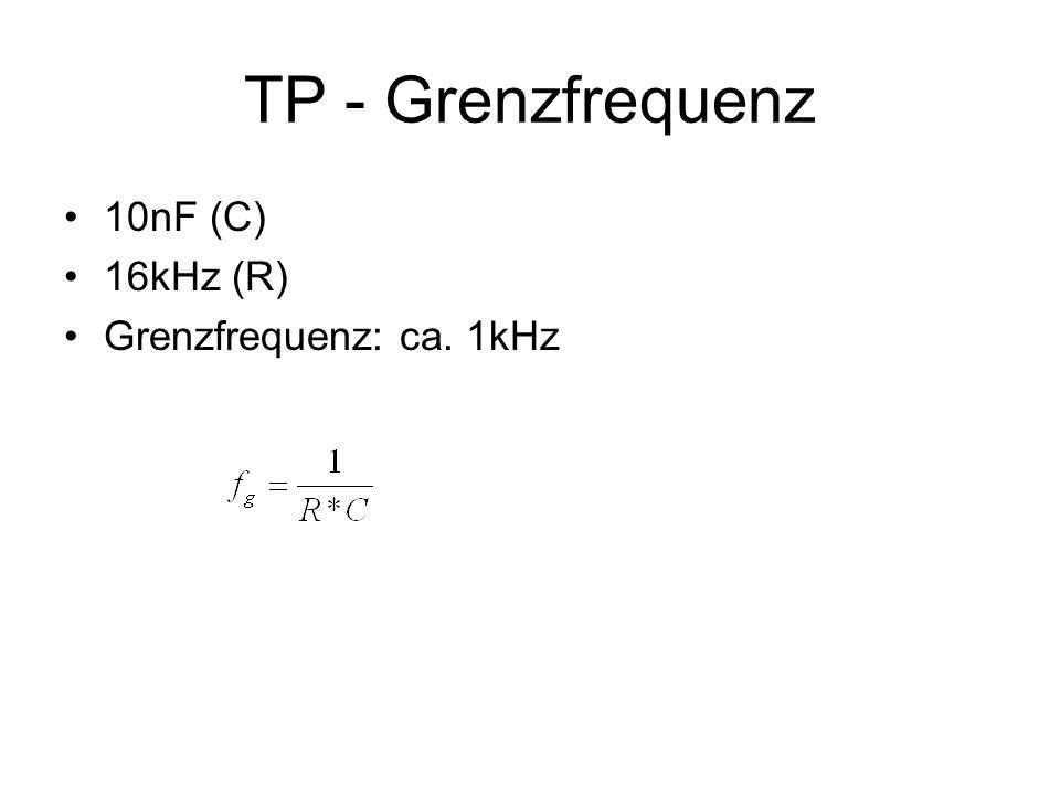 TP - Grenzfrequenz 10nF (C) 16kHz (R) Grenzfrequenz: ca. 1kHz
