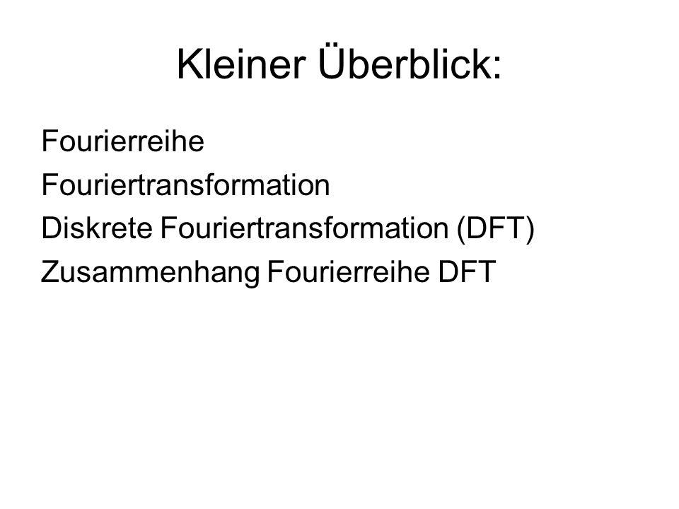 Kleiner Überblick: Fourierreihe Fouriertransformation Diskrete Fouriertransformation (DFT) Zusammenhang Fourierreihe DFT