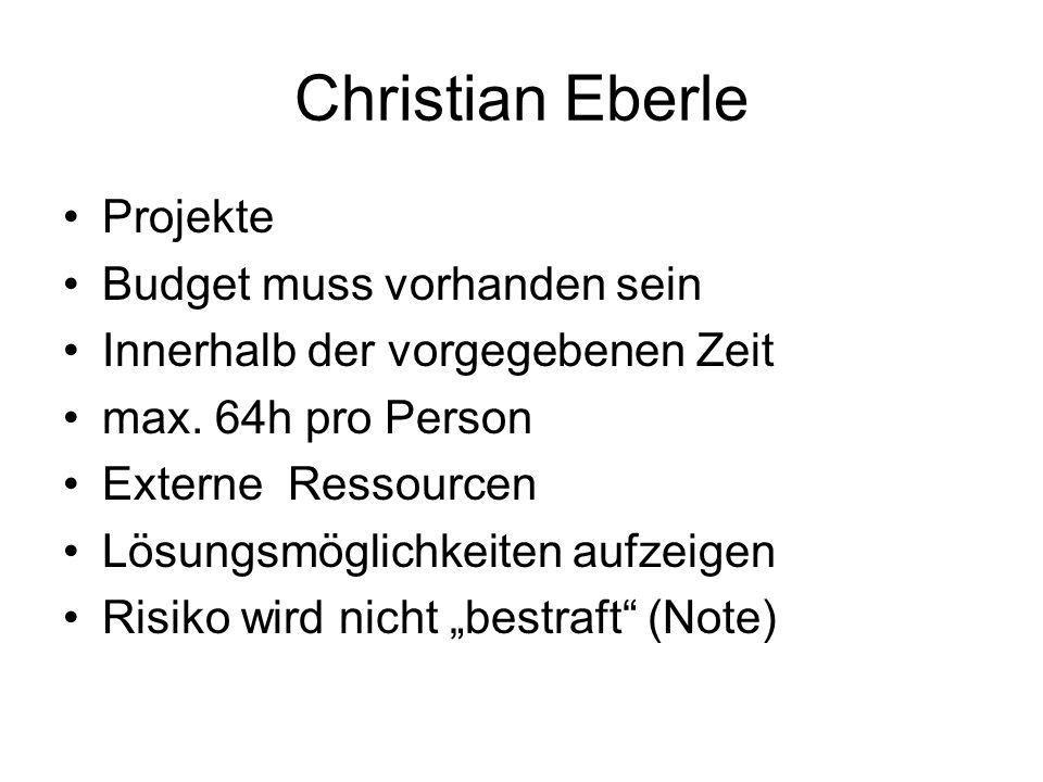 Christian Eberle Projekte Budget muss vorhanden sein Innerhalb der vorgegebenen Zeit max. 64h pro Person Externe Ressourcen Lösungsmöglichkeiten aufze