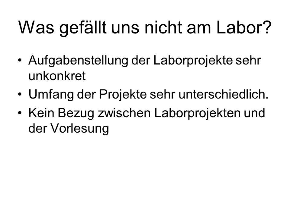 Was gefällt uns nicht am Labor? Aufgabenstellung der Laborprojekte sehr unkonkret Umfang der Projekte sehr unterschiedlich. Kein Bezug zwischen Laborp