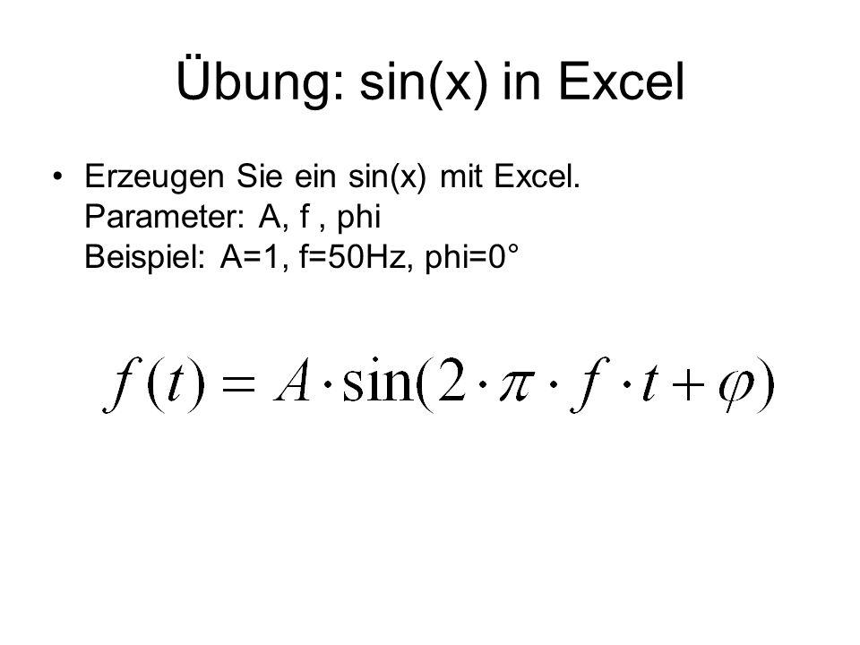 Übung: sin(x) in Excel Erzeugen Sie ein sin(x) mit Excel. Parameter: A, f, phi Beispiel: A=1, f=50Hz, phi=0°
