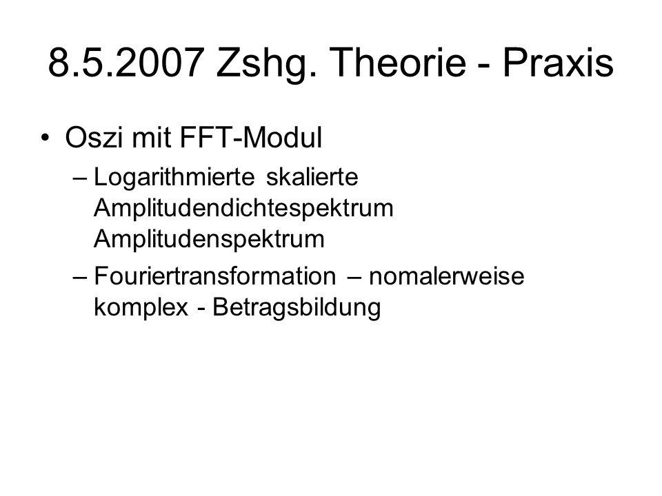 8.5.2007 Zshg. Theorie - Praxis Oszi mit FFT-Modul –Logarithmierte skalierte Amplitudendichtespektrum Amplitudenspektrum –Fouriertransformation – noma