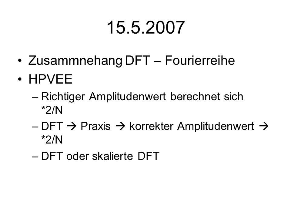15.5.2007 Zusammnehang DFT – Fourierreihe HPVEE –Richtiger Amplitudenwert berechnet sich *2/N –DFT Praxis korrekter Amplitudenwert *2/N –DFT oder skal