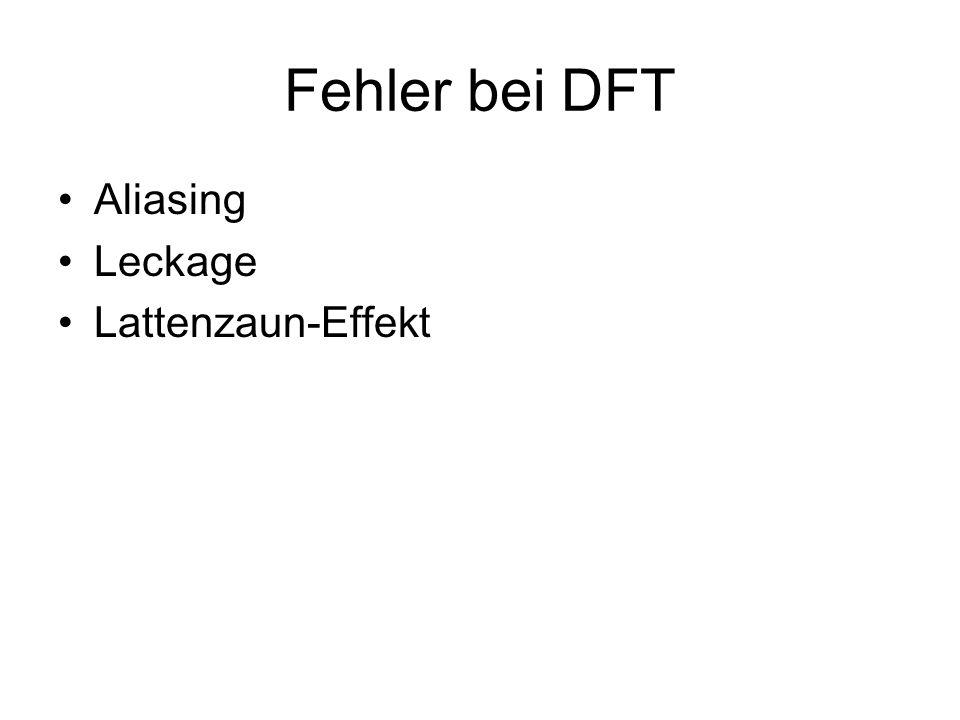 Fehler bei DFT Aliasing Leckage Lattenzaun-Effekt