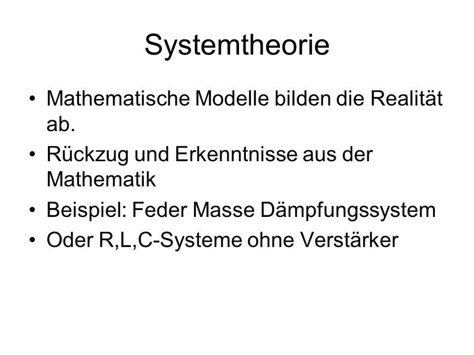 Systemtheorie Mathematische Modelle bilden die Realität ab. Rückzug und Erkenntnisse aus der Mathematik Beispiel: Feder Masse Dämpfungssystem Oder R,L