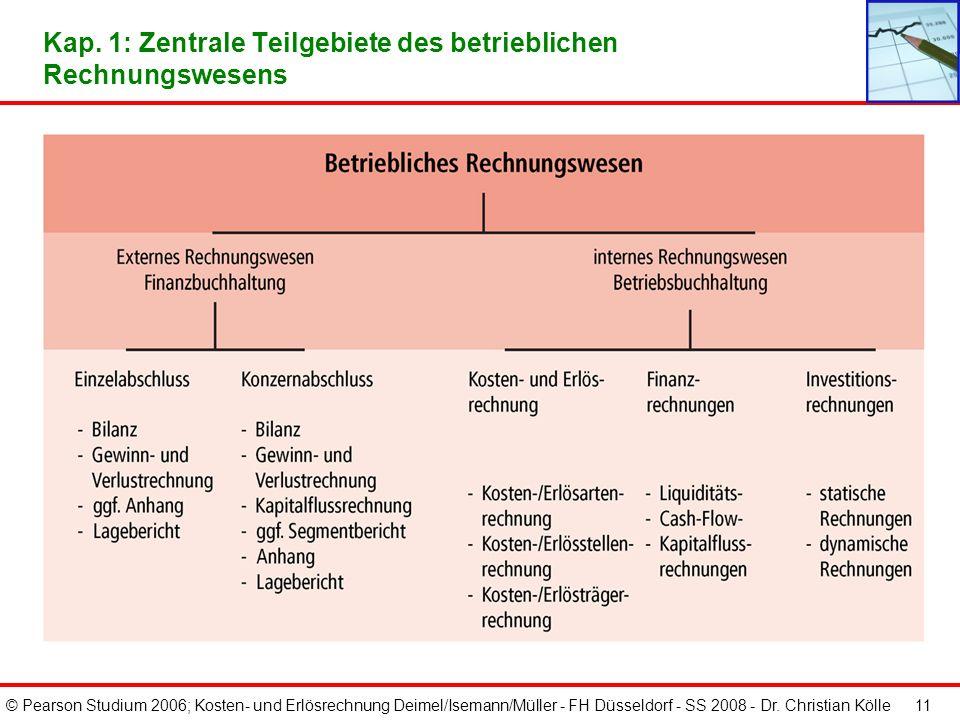 © Pearson Studium 2006; Kosten- und Erlösrechnung Deimel/Isemann/Müller - FH Düsseldorf - SS 2008 - Dr. Christian Kölle 11 Kap. 1: Zentrale Teilgebiet