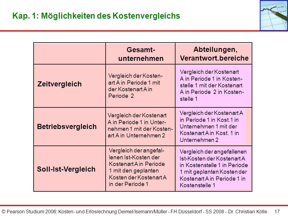 © Pearson Studium 2006; Kosten- und Erlösrechnung Deimel/Isemann/Müller - FH Düsseldorf - SS 2008 - Dr. Christian Kölle 17 Gesamt- unternehmen Abteilu