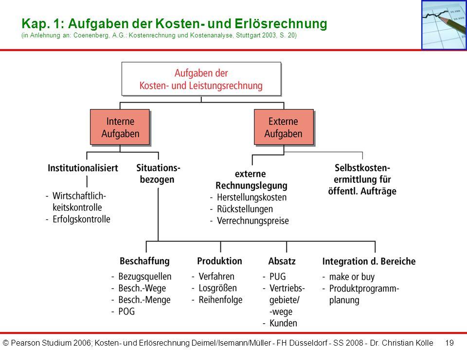 © Pearson Studium 2006; Kosten- und Erlösrechnung Deimel/Isemann/Müller - FH Düsseldorf - SS 2008 - Dr. Christian Kölle 19 Kap. 1: Aufgaben der Kosten