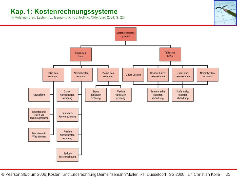 © Pearson Studium 2006; Kosten- und Erlösrechnung Deimel/Isemann/Müller - FH Düsseldorf - SS 2008 - Dr. Christian Kölle 23 Kap. 1: Kostenrechnungssyst