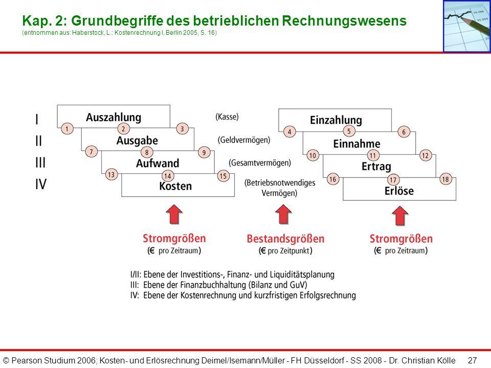 © Pearson Studium 2006; Kosten- und Erlösrechnung Deimel/Isemann/Müller - FH Düsseldorf - SS 2008 - Dr. Christian Kölle 27 Kap. 2: Grundbegriffe des b