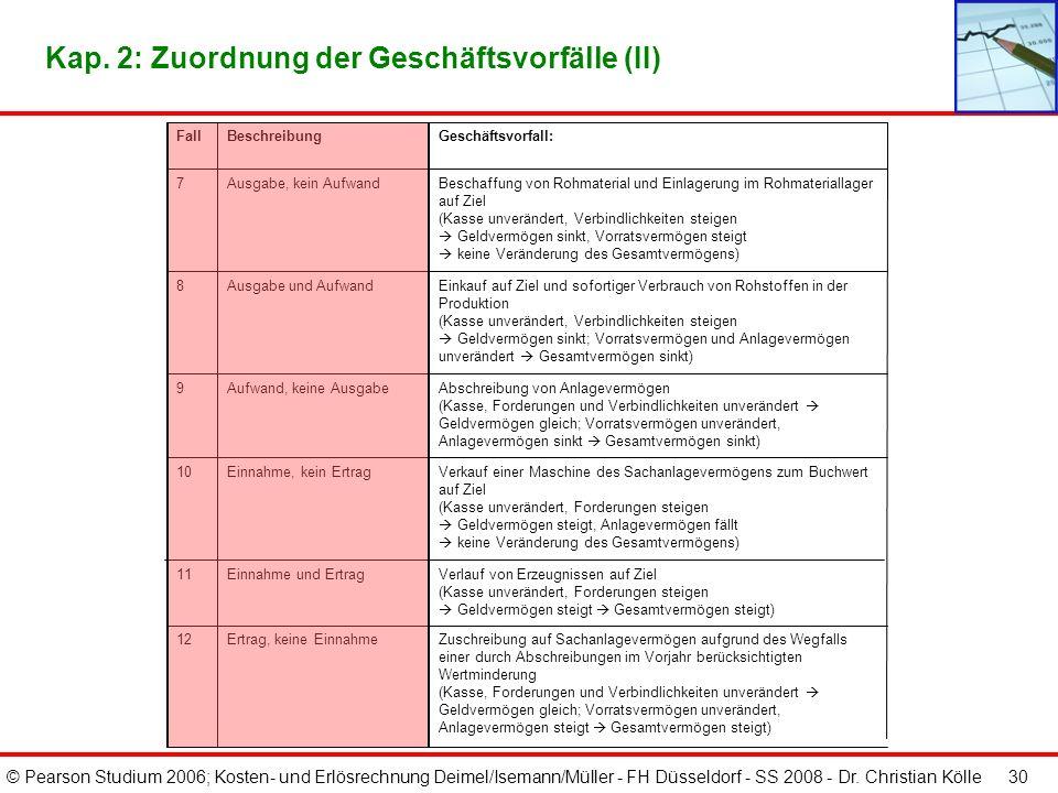 © Pearson Studium 2006; Kosten- und Erlösrechnung Deimel/Isemann/Müller - FH Düsseldorf - SS 2008 - Dr. Christian Kölle 30 Kap. 2: Zuordnung der Gesch