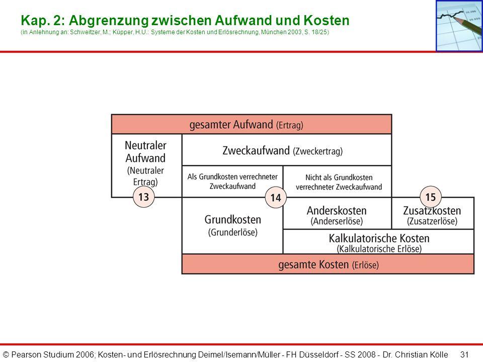 © Pearson Studium 2006; Kosten- und Erlösrechnung Deimel/Isemann/Müller - FH Düsseldorf - SS 2008 - Dr. Christian Kölle 31 Kap. 2: Abgrenzung zwischen