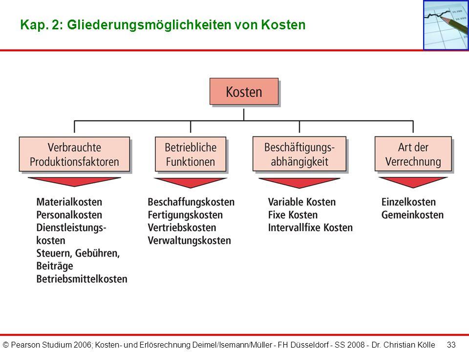 © Pearson Studium 2006; Kosten- und Erlösrechnung Deimel/Isemann/Müller - FH Düsseldorf - SS 2008 - Dr. Christian Kölle 33 Kap. 2: Gliederungsmöglichk