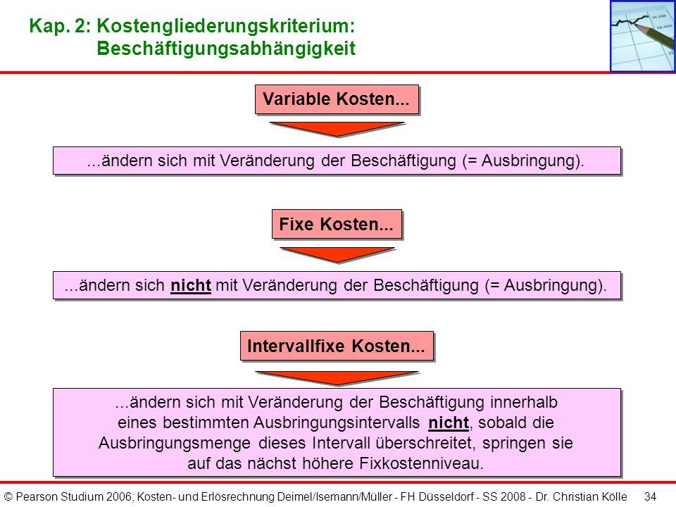 © Pearson Studium 2006; Kosten- und Erlösrechnung Deimel/Isemann/Müller - FH Düsseldorf - SS 2008 - Dr. Christian Kölle 34 Variable Kosten......ändern