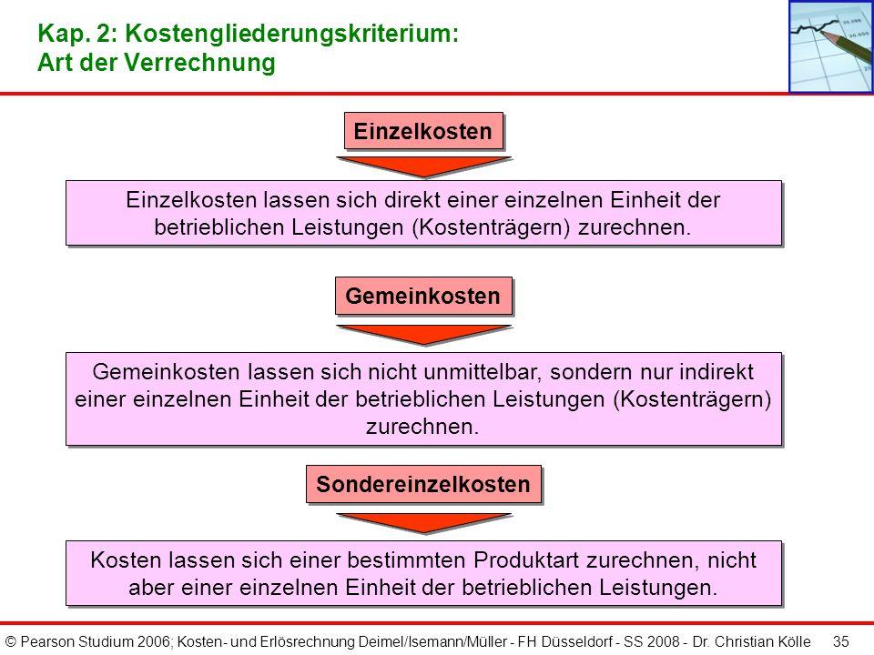 © Pearson Studium 2006; Kosten- und Erlösrechnung Deimel/Isemann/Müller - FH Düsseldorf - SS 2008 - Dr. Christian Kölle 35 Gemeinkosten Gemeinkosten l