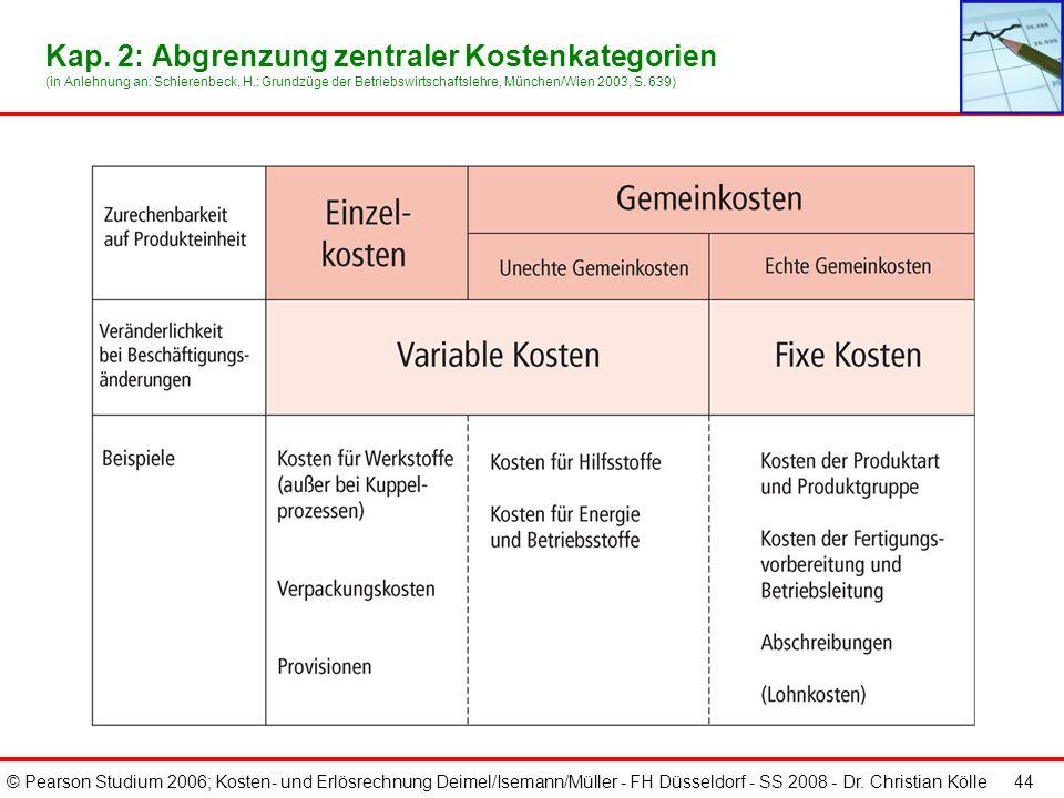 © Pearson Studium 2006; Kosten- und Erlösrechnung Deimel/Isemann/Müller - FH Düsseldorf - SS 2008 - Dr. Christian Kölle 44 Kap. 2: Abgrenzung zentrale