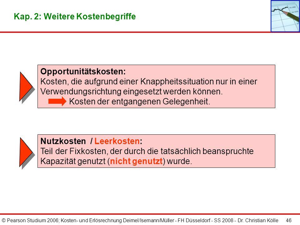 © Pearson Studium 2006; Kosten- und Erlösrechnung Deimel/Isemann/Müller - FH Düsseldorf - SS 2008 - Dr. Christian Kölle 46 Nutzkosten / Leerkosten: Te