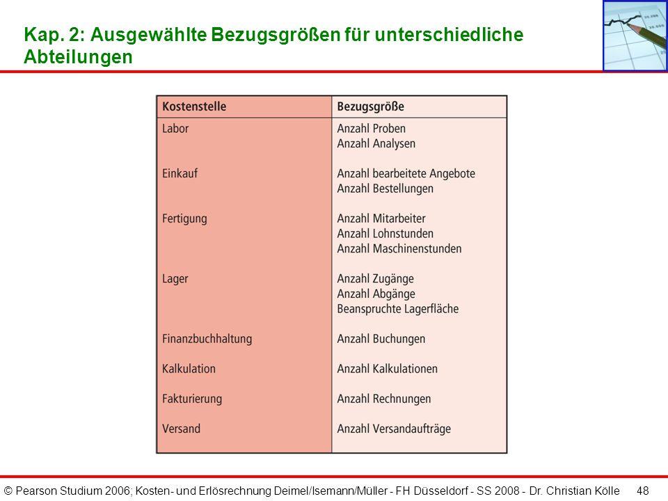 © Pearson Studium 2006; Kosten- und Erlösrechnung Deimel/Isemann/Müller - FH Düsseldorf - SS 2008 - Dr. Christian Kölle 48 Kap. 2: Ausgewählte Bezugsg