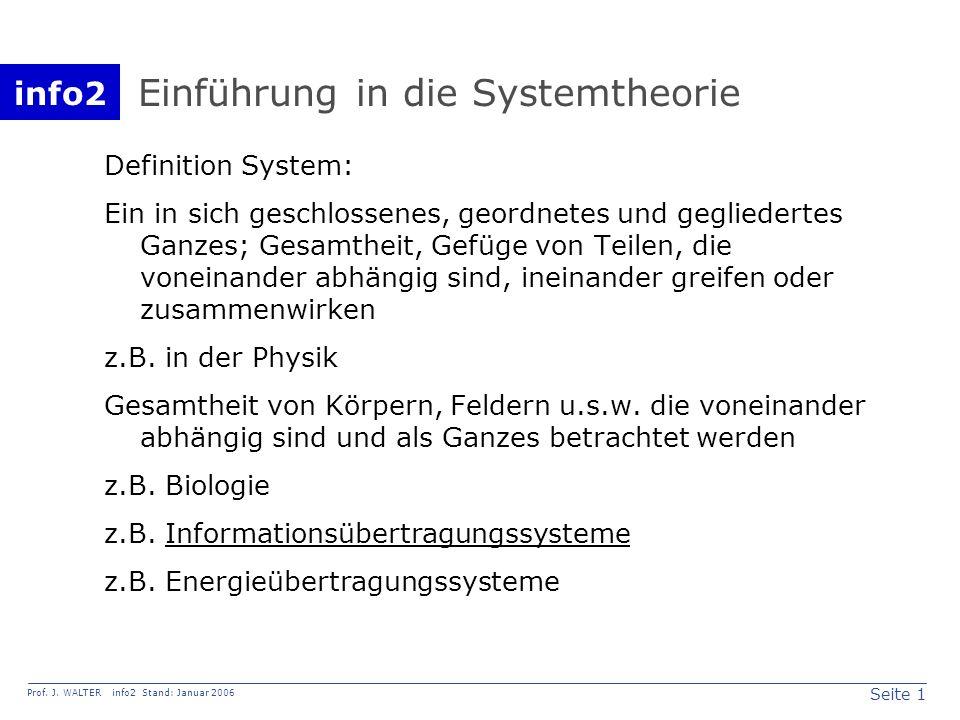 info2 Prof. J. WALTER info2 Stand: Januar 2006 Seite 1 Einführung in die Systemtheorie Definition System: Ein in sich geschlossenes, geordnetes und ge
