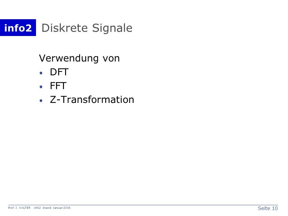 info2 Prof. J. WALTER info2 Stand: Januar 2006 Seite 10 Diskrete Signale Verwendung von DFT FFT Z-Transformation