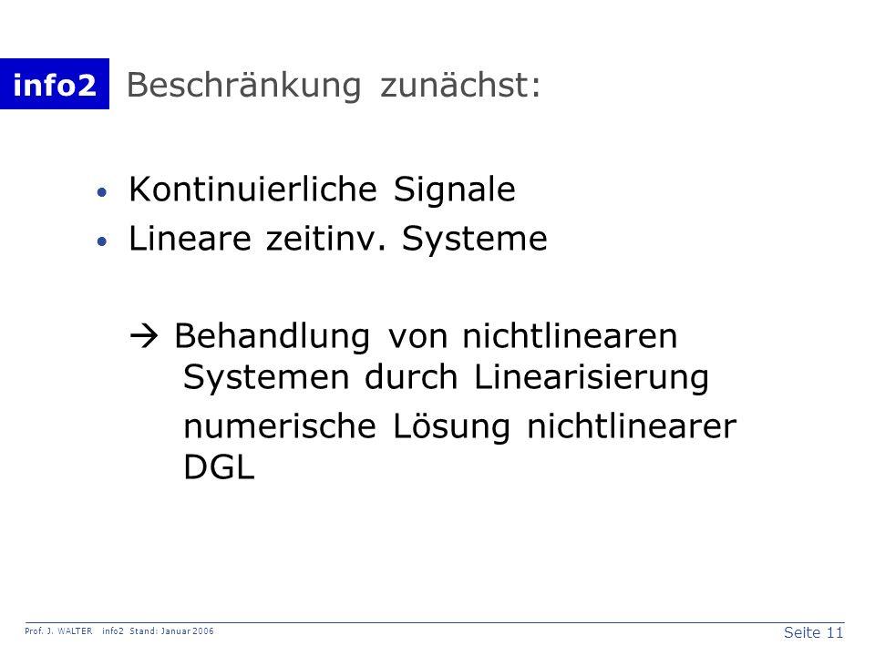 info2 Prof. J. WALTER info2 Stand: Januar 2006 Seite 11 Kontinuierliche Signale Lineare zeitinv. Systeme Behandlung von nichtlinearen Systemen durch L
