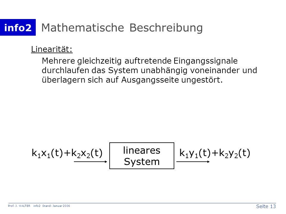 info2 Prof. J. WALTER info2 Stand: Januar 2006 Seite 13 Mathematische Beschreibung Linearität: Mehrere gleichzeitig auftretende Eingangssignale durchl