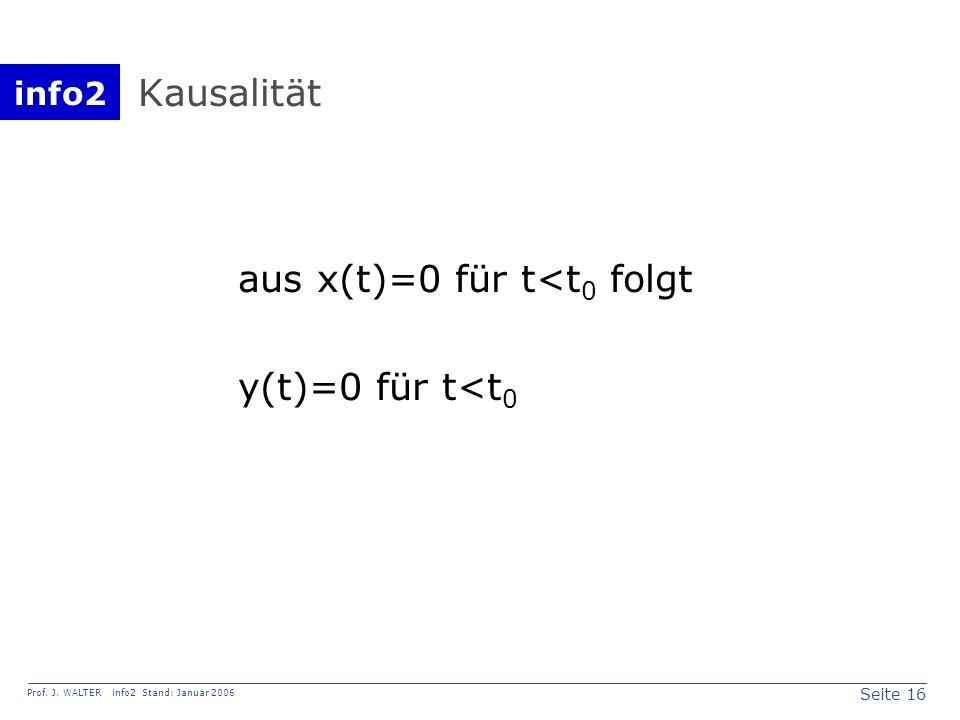 info2 Prof. J. WALTER info2 Stand: Januar 2006 Seite 16 Kausalität aus x(t)=0 für t<t 0 folgt y(t)=0 für t<t 0