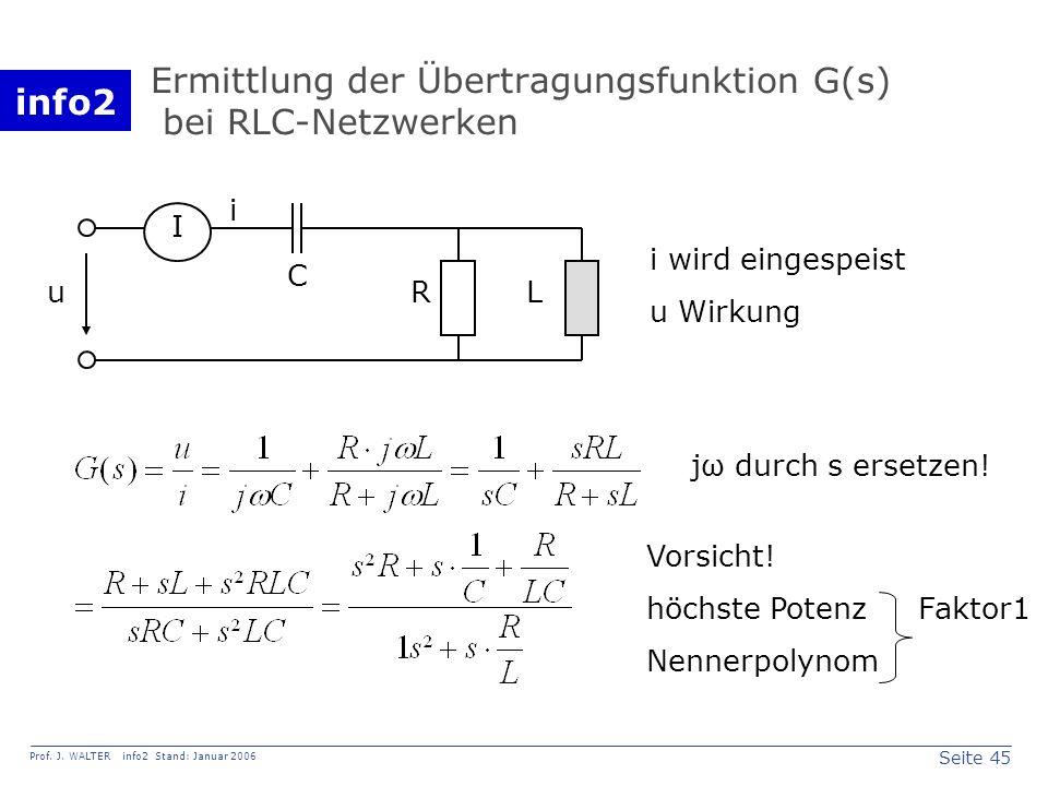 info2 Prof. J. WALTER info2 Stand: Januar 2006 Seite 45 Ermittlung der Übertragungsfunktion G(s) bei RLC-Netzwerken R L C u i I i wird eingespeist u W