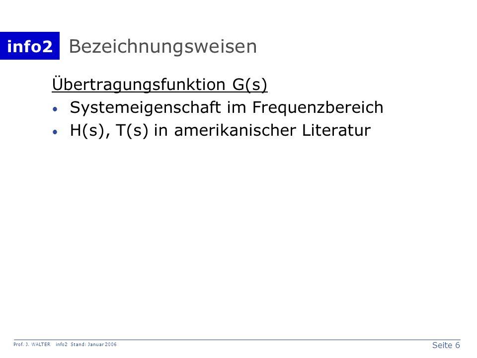 info2 Prof. J. WALTER info2 Stand: Januar 2006 Seite 6 Bezeichnungsweisen Übertragungsfunktion G(s) Systemeigenschaft im Frequenzbereich H(s), T(s) in