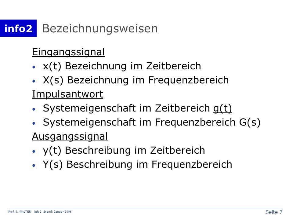 info2 Prof. J. WALTER info2 Stand: Januar 2006 Seite 7 Bezeichnungsweisen Eingangssignal x(t) Bezeichnung im Zeitbereich X(s) Bezeichnung im Frequenzb