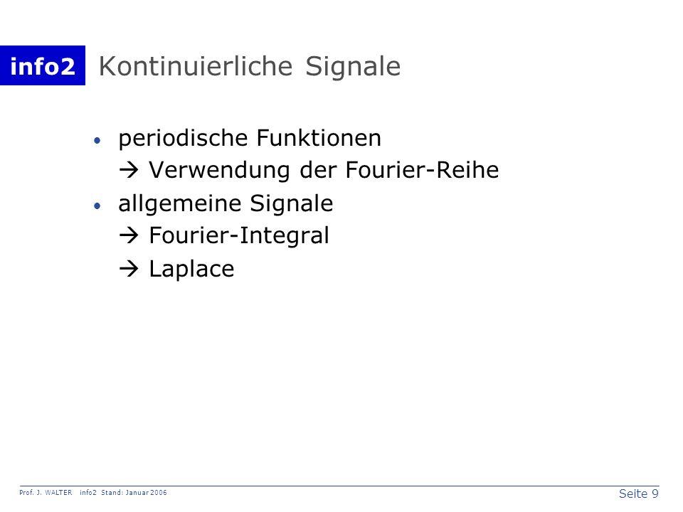 info2 Prof. J. WALTER info2 Stand: Januar 2006 Seite 9 Kontinuierliche Signale periodische Funktionen Verwendung der Fourier-Reihe allgemeine Signale