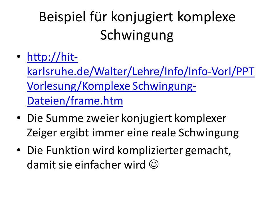 Beispiel für konjugiert komplexe Schwingung http://hit- karlsruhe.de/Walter/Lehre/Info/Info-Vorl/PPT Vorlesung/Komplexe Schwingung- Dateien/frame.htm