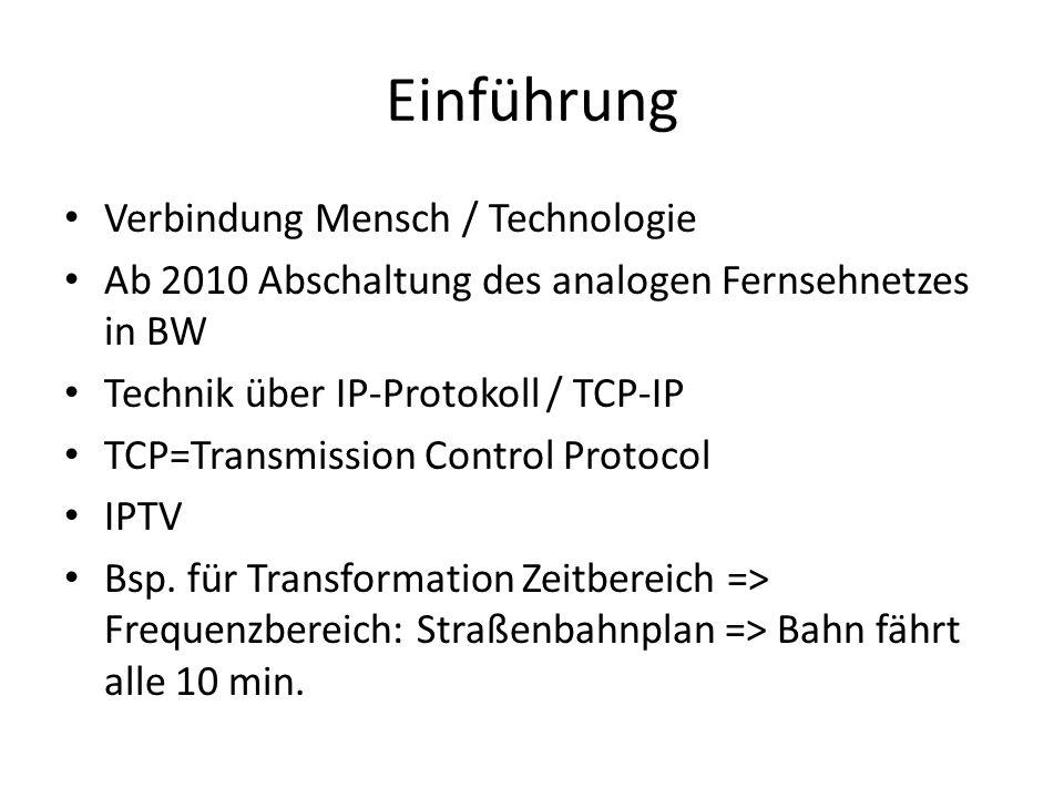 Einführung Verbindung Mensch / Technologie Ab 2010 Abschaltung des analogen Fernsehnetzes in BW Technik über IP-Protokoll / TCP-IP TCP=Transmission Co